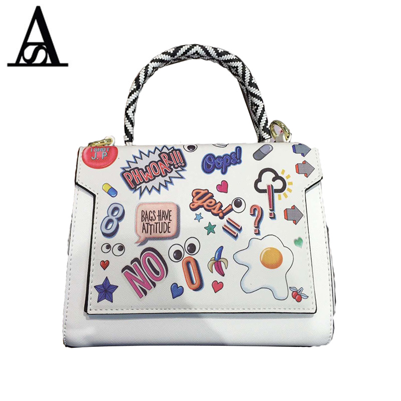 Aitesen PU leather Cartoon Printing Women Shoulder Bag tote Louis Bag Braccialini Handbag Sac A Main Mochila Feminina Bolsa Kors aitesen tote leather bag luxury handbags women messenger bags designer sac a main mochila bolsa feminina kors louis bags