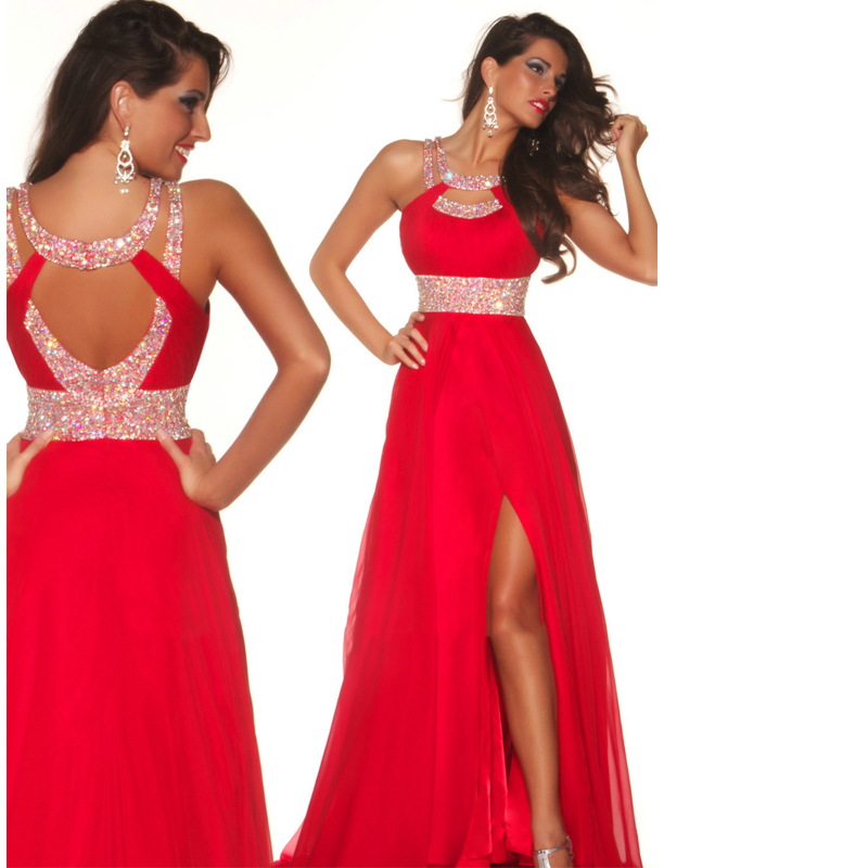Royal Red Prom Dress 2015 A-Line Floor-Length Princess Scoop Neck Chiffon Party Ruffle Beading Sequins Split Front - Serenity Bridal & Formal Shop store