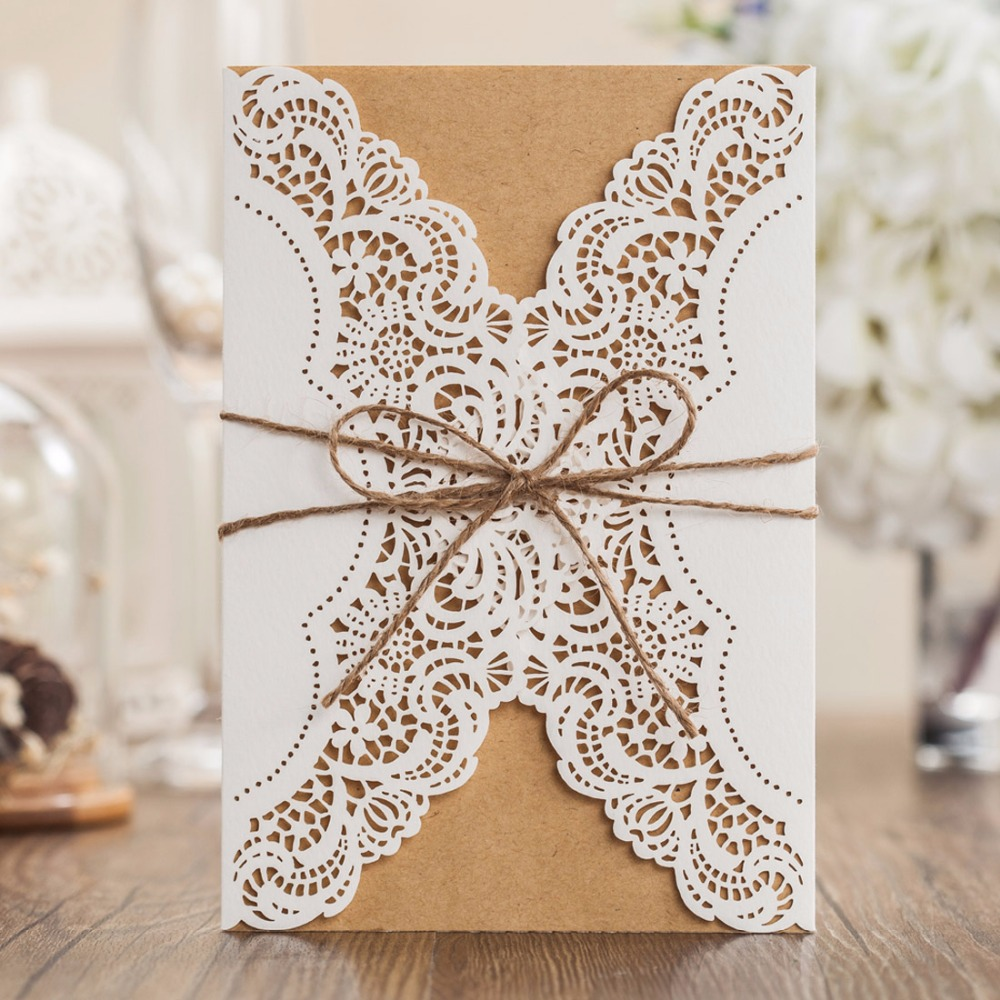 Laser Cut Wedding Invitations Cards Customized Vertical Engagement Birthday Invites With Burlap Rope Party Favors PK14113 In From Home