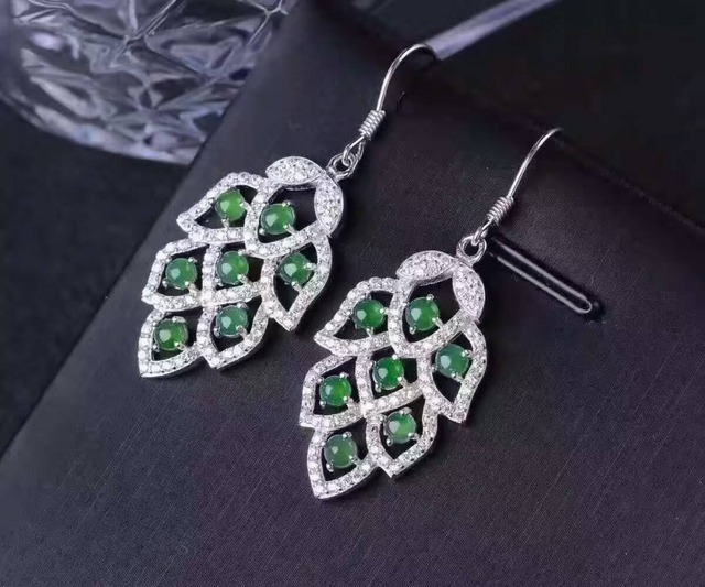 Natural Jade Drop Earrings 925 Silver Green Gemstone Earring For Women Clic Elegant