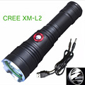 NEW Rechargeable LED tactical flashlight CREE XM-L2 3800 Lumens aluminum alloy flashlight torch with 18650 + Gift box Package