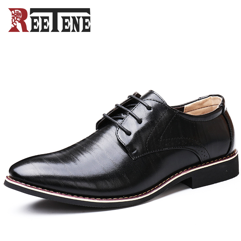 REETENE Fashion Men Dress Shoes Fashion Business Pu Leather Oxford Shoes For Men Office Men Shoes Wedding Shoes Men Zapatos блокнот step towards dream красный бм2016 124