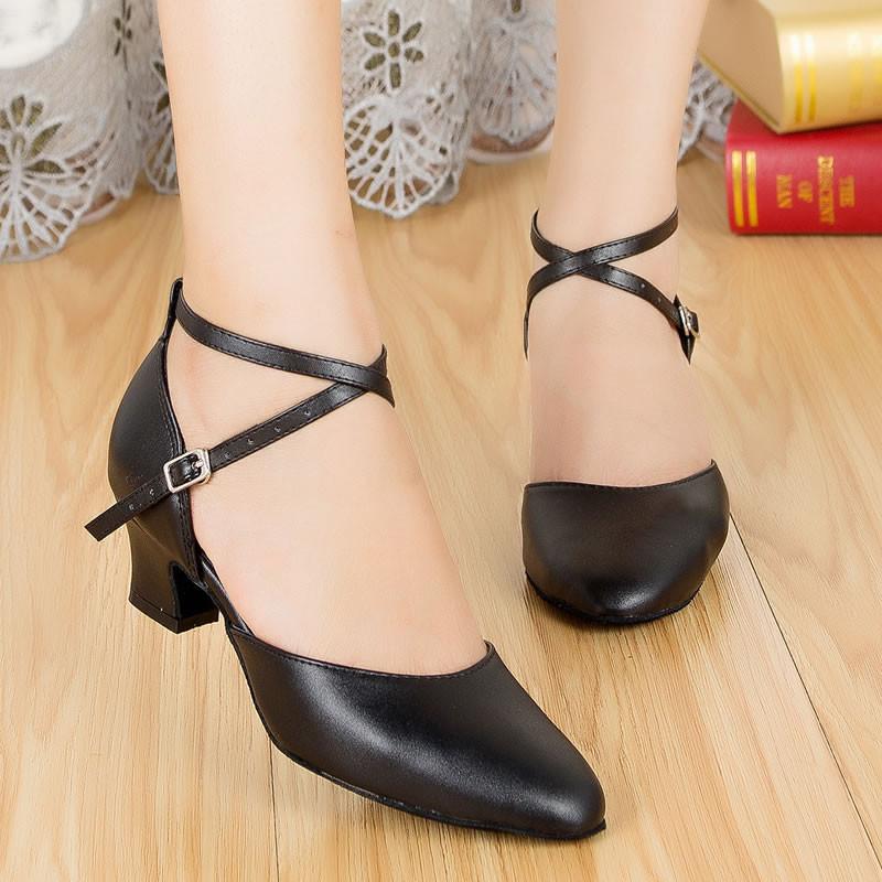 взрослых женщин девушки площадь бал Latin Salsa Strap кора естественной кожи SAL обуви чистый черный