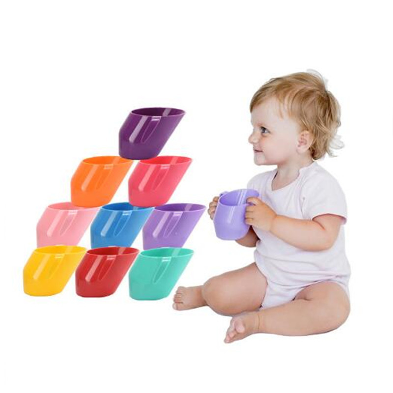 200ML BPA Free Baby Training Feeding Cup With Handle Bevel Mouth Safe Leakproof Cup Kids Water Bottle