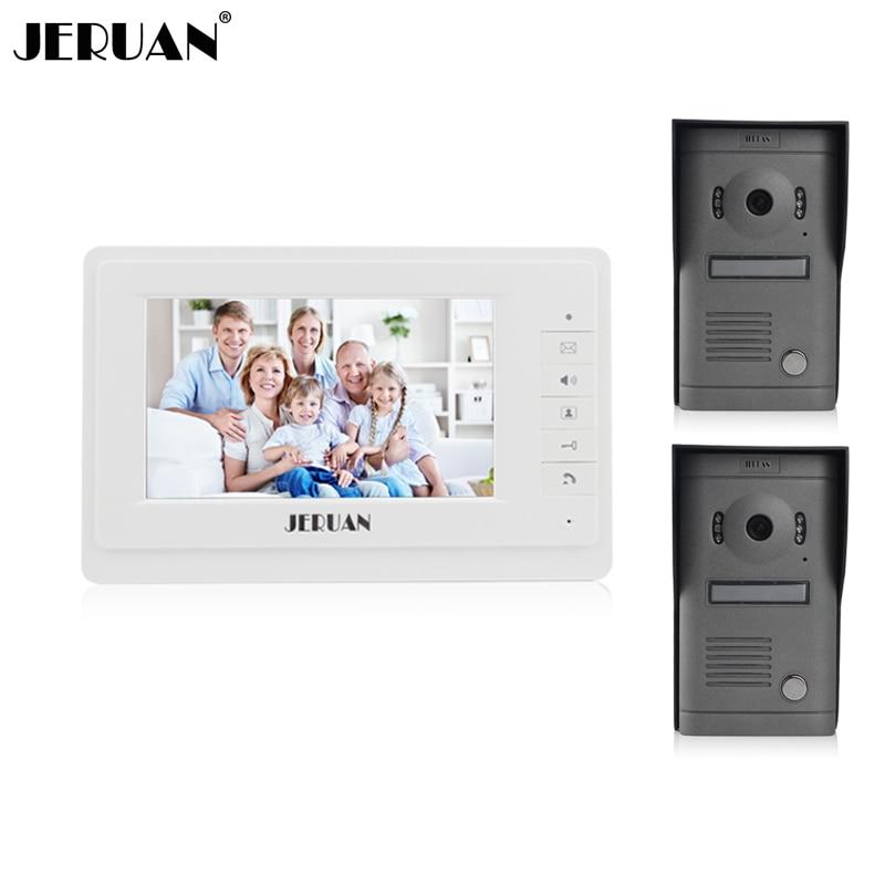 JERUAN 7 inch video door phone intercom system doorbell speaker intercom video doorphone 2V1