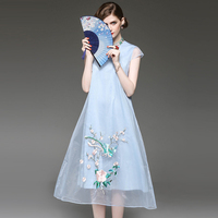 Fowice 2017 Spring New Elegant Chinese Style Cheongsam Embroidery Organza Long Dress Short Sleeve Stand Collar