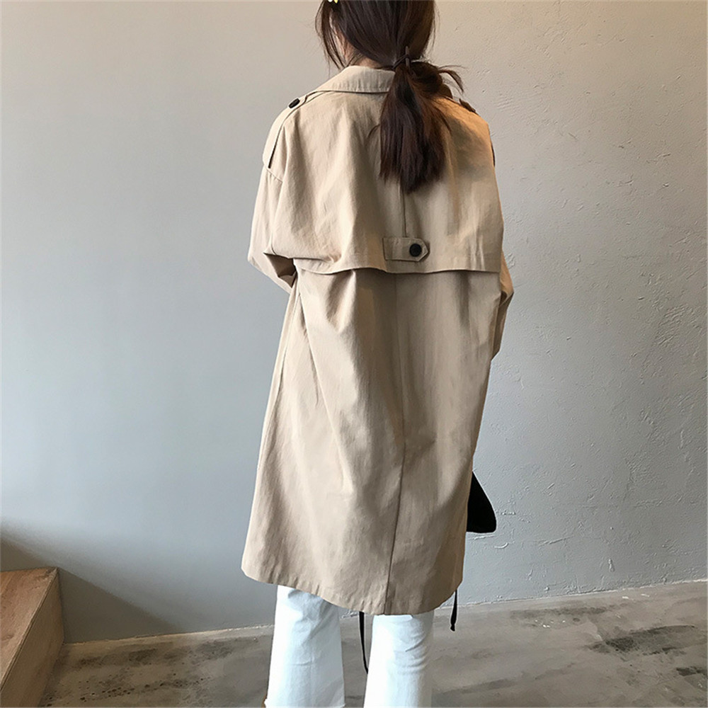 Vintage Cotton Women Coat 2019 Autumn Women's Casual Trench Coat oversize Single Breasted Washed Outwear Loose Clothing 68501 (5)