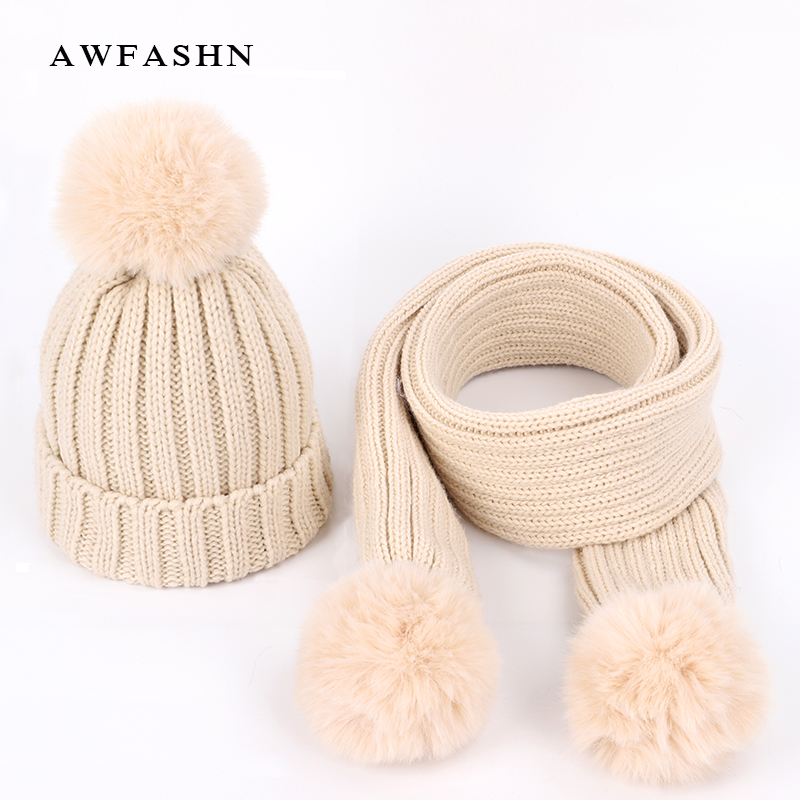 2019 New Cute Children's Knit Beanies Hat Scarf Sets Kids Winter Boys Girls Soft Cap Scarves Solid Color Pompom Baby Bonnet