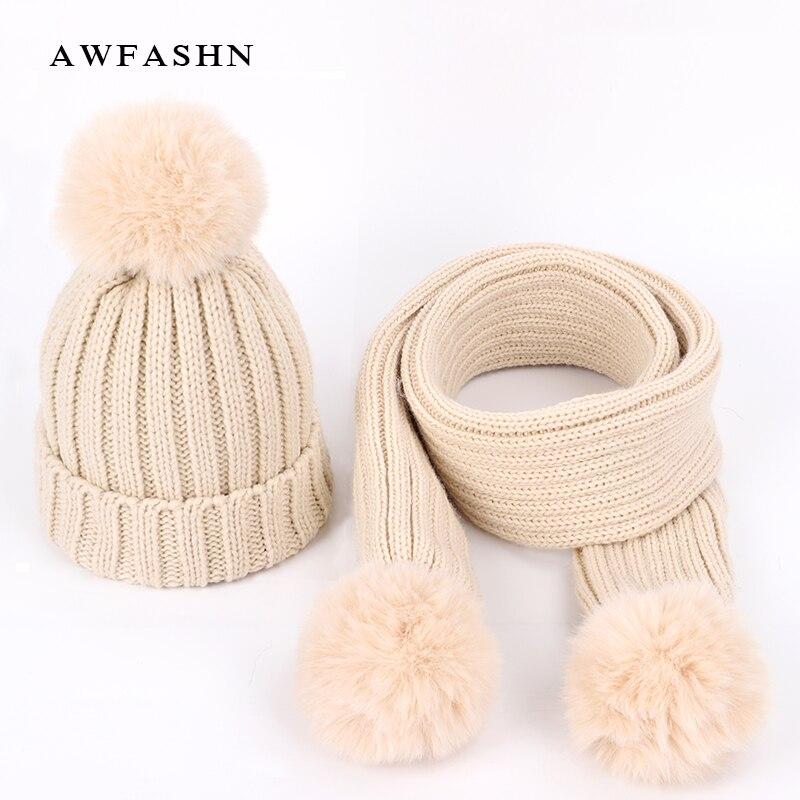 2019 New Cute Children's Knit Beanies Hat Scarf Sets Kids Winter Boys Girls Soft Cap Scarves Solid Color Pompom Baby Bonnet