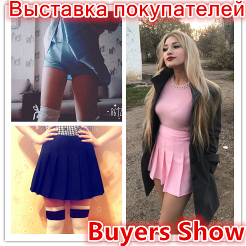 2018 New Spring high waist ball pleated skirts Harajuku Denim Skirts solid a line sailor skirt