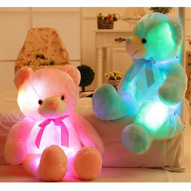 50cm Light Up LED Inductive Teddy Bear Stuffed Animals Plush Toy Colorful Glowing Teddy Bear Christmas Gift for Kids and lover large cute cartoon animals bear panda doll bear hug colorful led flashing light led plush toy for kids children gift