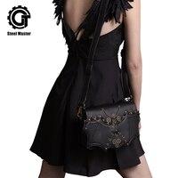 Steampunk Rock Rivet Messenger Bags Women Bat Pattern Cross Body Grey Satchels Shoulder Bags With Chain Gear Men Leather Handbag
