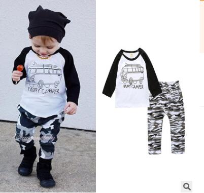 Retail 2018 baby clothes infant clothes baby clothing sets boy Cotton little monsters Sleeve Length 2pcs baby boy clothes комбинезоны little boy комбинезон трансформер