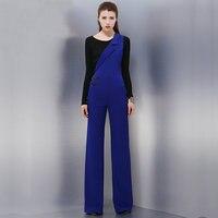 Для женщин синий асимметричный комбинезон темно синий комбинезон без рукавов подтяжки женские длинные штаны брюки