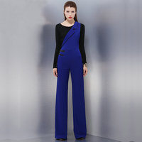 Women's Blue asymmetrical jumpsuits navy blue sleeveless jumpsuit suspenders female long pants trousers