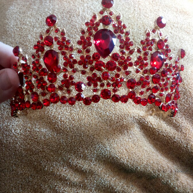 Красный Театрализованное Свадьба Кристалл Диадемы и короны свадебные горный хрусталь диадемы венчает украшения для волос Для женщин девуш...