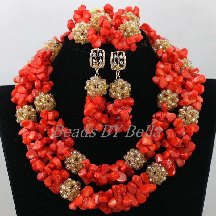 African Wedding Coral Bead Jewelry Set Costume Statement Necklace For Women Nigerian Beads Lace Jewelry Set Free Shipping ABK645 hot red statement choker necklace african wedding beads for women set dubai costume bridal lace jewelry set free shipping abf550