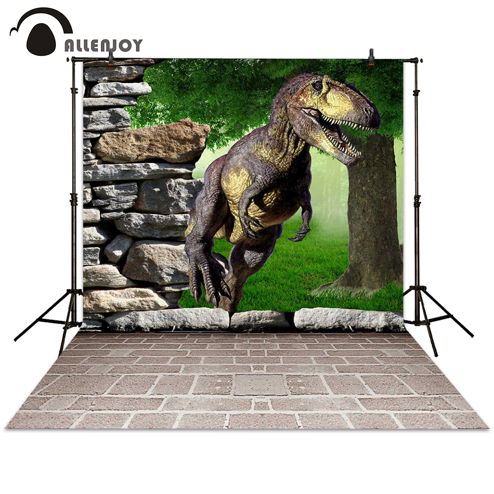 Allenjoy backgrounds photography dinosaur stone brick tree terrible backdrop photocall photographic photo studio