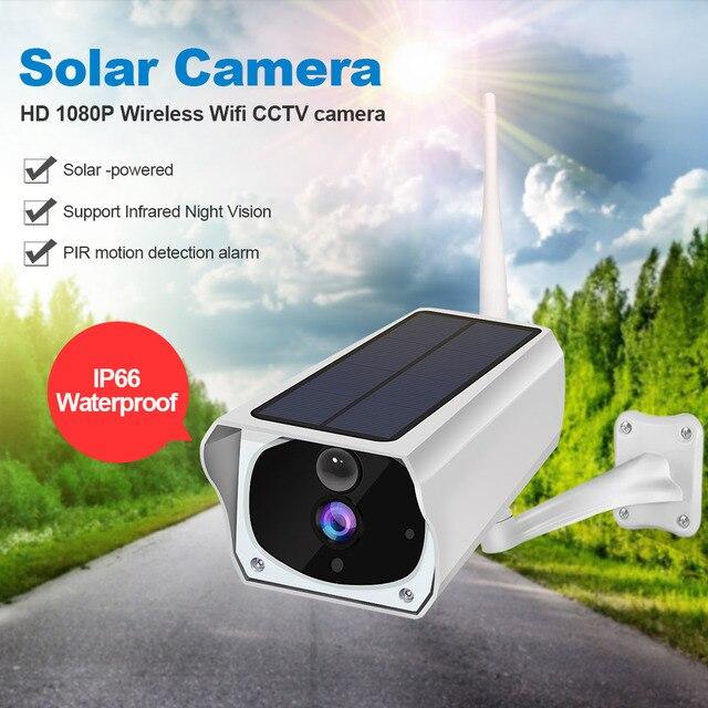 ZGWANG 1080P Solar Camera Outdoor Wifi IP Camera 2MP Waterproof Solar Power Camera Secuity Battery Surveillance Camera TF Card