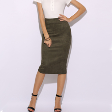 SMOVES Womens 90`s Vinitage High Waist Solid Suede Midi Skirt Back Split New Autumn Winter Thick Strechy Pencil Skirts GS132  недорого