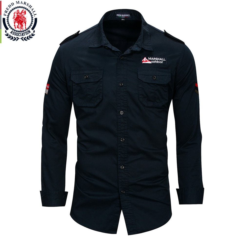 Fredd Marshall 2019 New 100% Cotton Military Shirt Men Long Sleeve Casual Dress Shirt Male Cargo Work Shirts With Embroidery 2