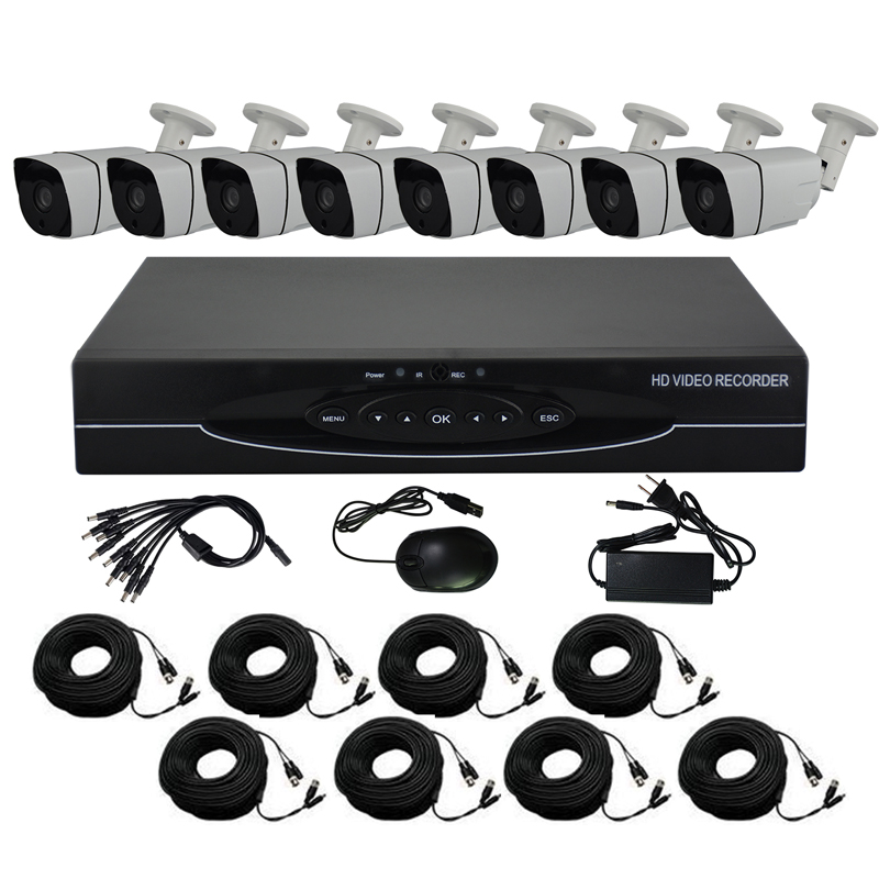 цена на Aokwe HD 8CH CCTV system 1.0MP 720P Real time Surveillance AHD DVR KIT 8PCS outdoor 1200TVL Security Camera System with HDD