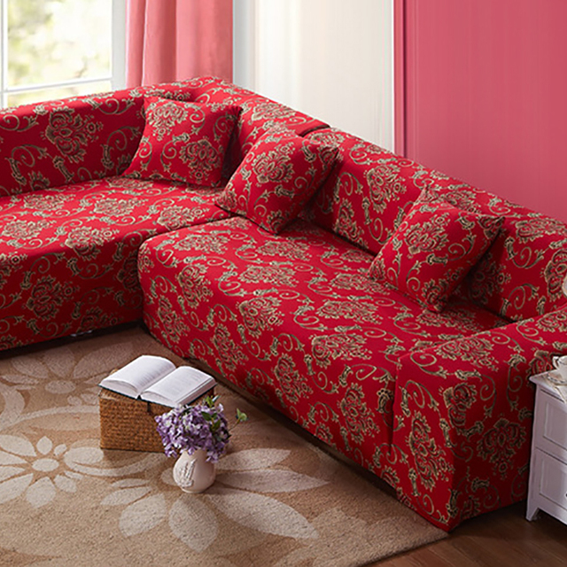 Nice Chinese Red Style Polyester Sofa Cover Big Elasticity Flexible Couch Cover  Loveseat Machine Slip Resistant