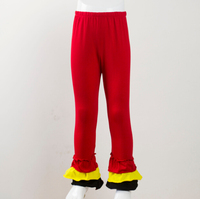 Lovely new arrival infant Kids Knit cotton legging pants girls fashion clothes red yellow black patchwork Ruffle pants