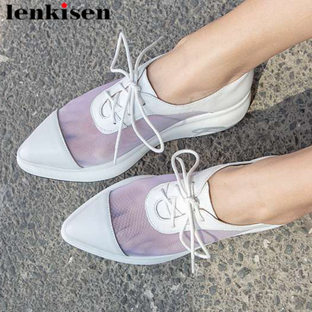Lenksien breathable mesh real cow leather pointed toe lace up pointed toe loafers med bottom platform