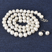 цена на The   7-8 MM  jewelry suit includes a delicate pearl necklace and 7- 8 MM  cute Pearl earrings The  Christmas gift for Family