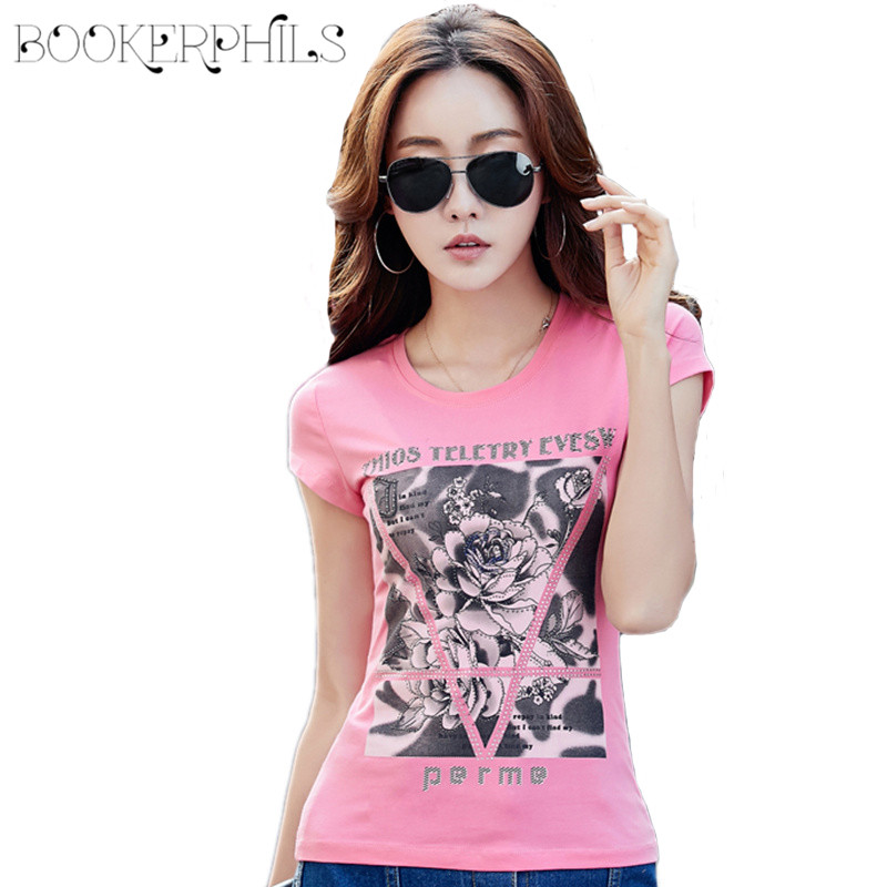 2018 Summer T-shirts Women Tops Lotus Printing O-Neck Floral Female T-shirt Plus Size Casual Short Cotton T Shirt Tees S-4XL женская футболка t shirt women 2015 o lotus a1 dx154