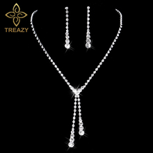 TREAZY Silver Color Crystal Bridal Jewelry Sets Sparkling Rhinestone Long Drop Necklace Earrings Wedding Jewelry for