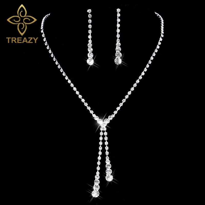 TREAZY Silver Color Crystal Bridal font b Jewelry b font Sets Sparkling Rhinestone Long Drop Necklace