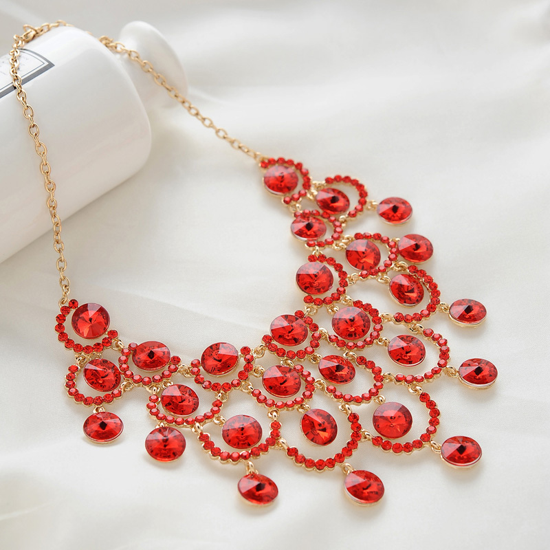 Free Shipping Fashion Crystal Bridal Necklace Set Imitated Diamond Red Jewelry Sets Wedding Costume Accessories In From