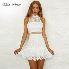 WildPinky new Hollow Out Sleeveless Mini Lace Dress Women O-Neck Crochet Sexy Party White Summer Dresses Casual