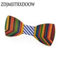 ZDJMEITRXDOOW новое прибытие corbata Гравате деревянные галстуки свадьба галстук-бабочка геометрический полосатый цвет галстуки