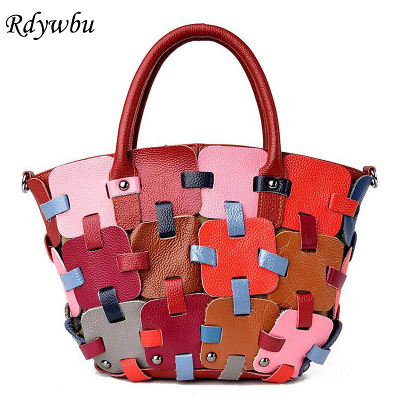 Rdywbu 2017 Genuine Cow Leather Women's Handbag Multicolour Weave Shoulder Bag Casual Colourful Patchwork Messenger Tote B286 rdywbu brand genuine leather tote handbag 2017 women colourful flowers patchwork shoulder bag plaid messenger crossbody bag b293