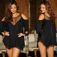 Xxxl Modal Lady Pajamas Sexy Lingerie Girl Night Dress Sleepwear Female Silk Nightgowns Half Sleeve Black