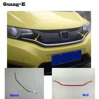 Car ABS chrome front engine Machine grille grill network hood stick lid trim lamp 1pcs For Honda Fit jazz 2014 2015 2016 2017