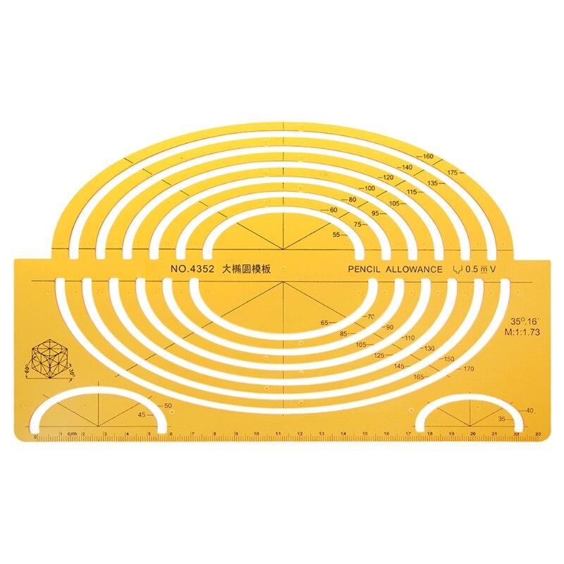 BELTI Plantilla Regla K Resina Elipses Plantillas de Dibujo Regla isom/étrica Grande Herramienta de medici/ón Estudiante