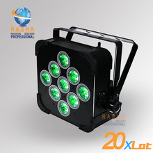 20PCS LOT Stock Rasha Big Discount 9 18W 6IN1 RGBAW UV Battery Powered Wireless LED Flat