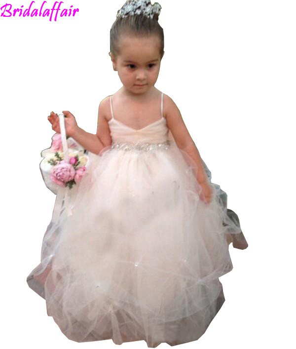 Flower     Girls     Dresses   for Weddings   Girls   Pageant Gowns Formal Wear Puff Soft Tulle White Ivory Champagne Kids Princess   girl     Dress