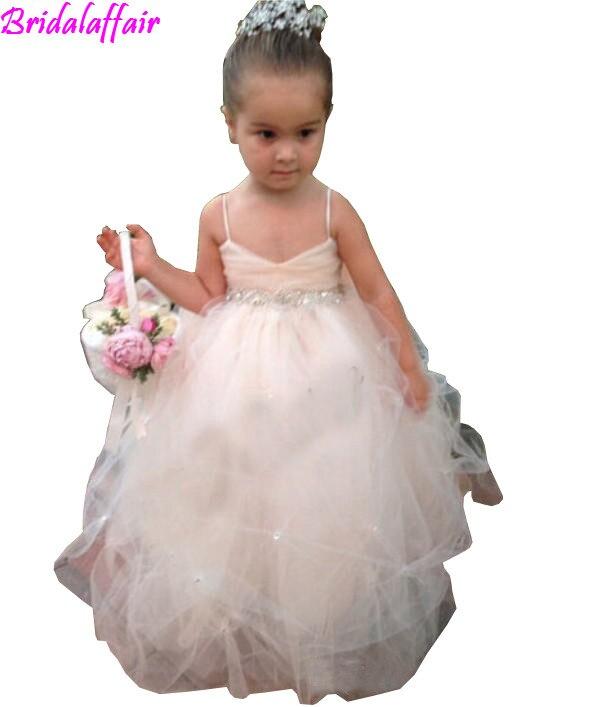 Robes de filles de fleur pour les mariages filles robes de reconstitution historique vêtements de cérémonie bouffée de Tulle doux blanc ivoire Champagne enfants robe de princesse fille