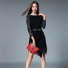 New Fashion Printing Tassel Party Women Dress Slim Black Solid 2016 Autumn Winter O-neck Tight Knee Length Sweet Free Belt Dress