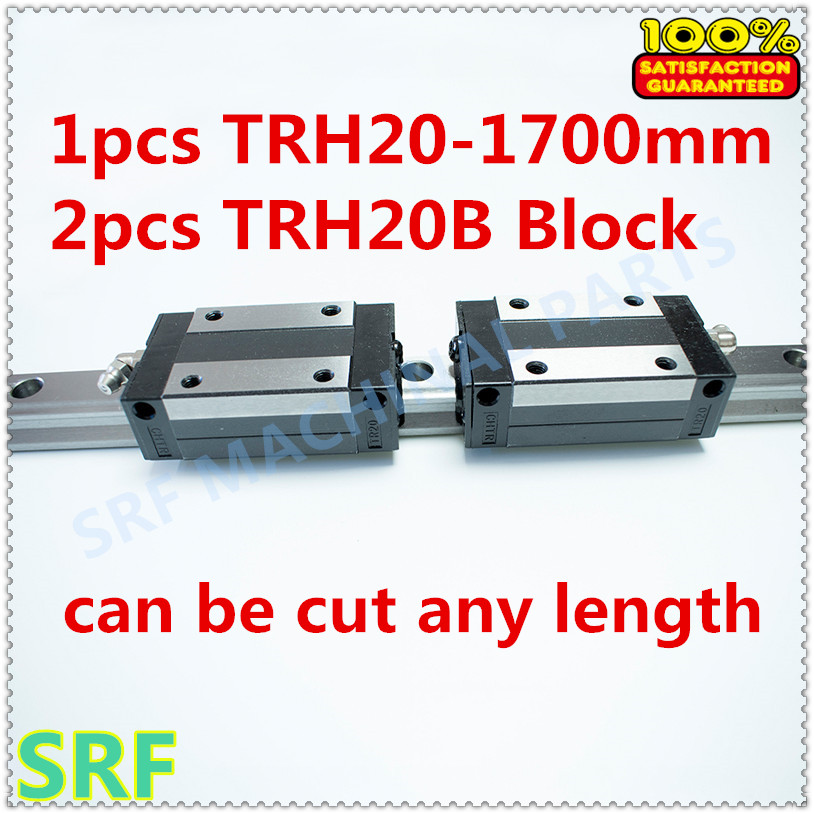 High Precision 1pcs Linear guide rail 20mm TRH20  L=1700mm Linear Rail+2pcs TRH20B carriage block for cnc parts tbi 2pcs trh20 1000mm linear guide rail 4pcs trh20fe linear block for cnc