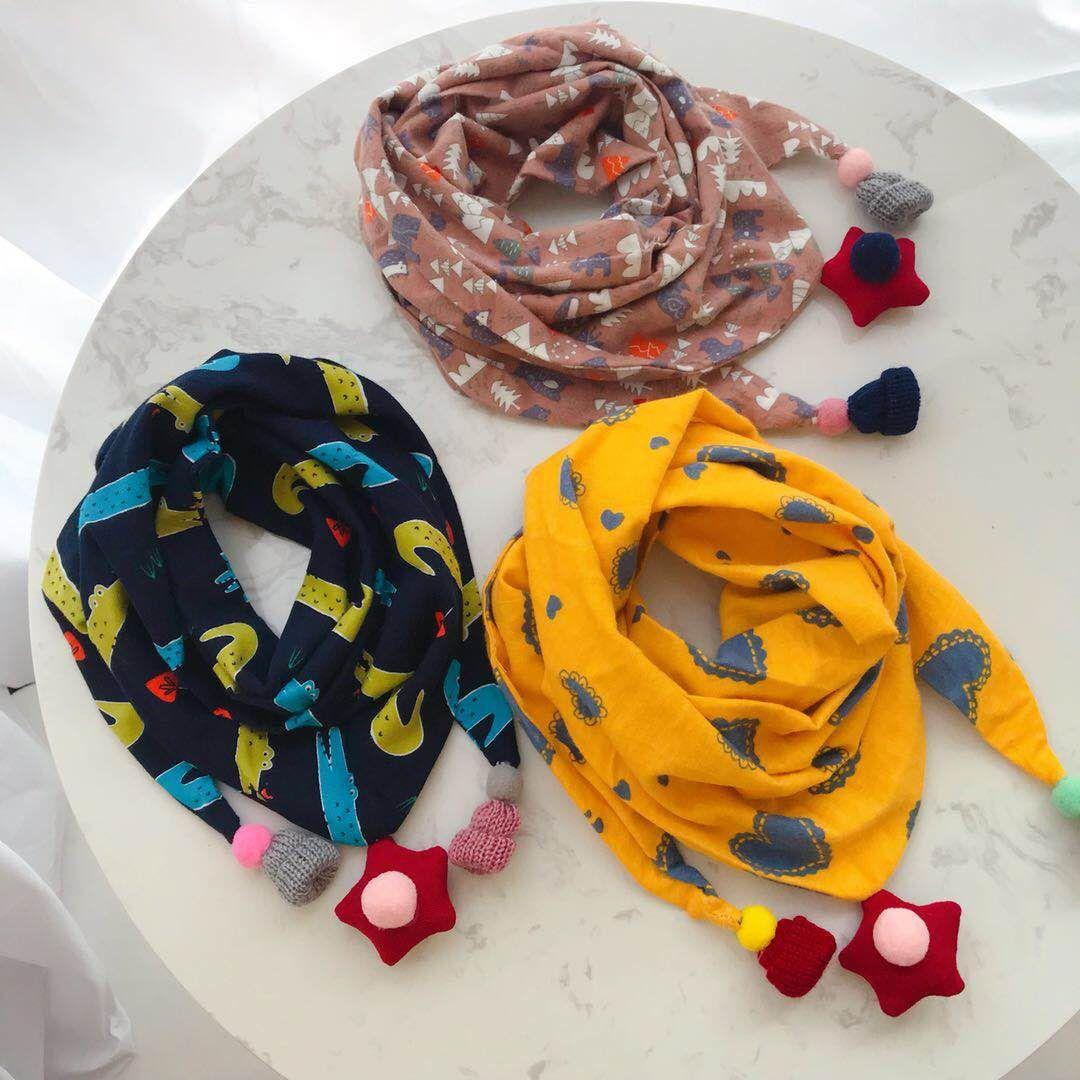 Autumn Winter Baby Girls Cartoon Triangle Scarves Boys Girls Shawl Children Cotton Neck Collars Warm Kids Neckerchief Cute Bib