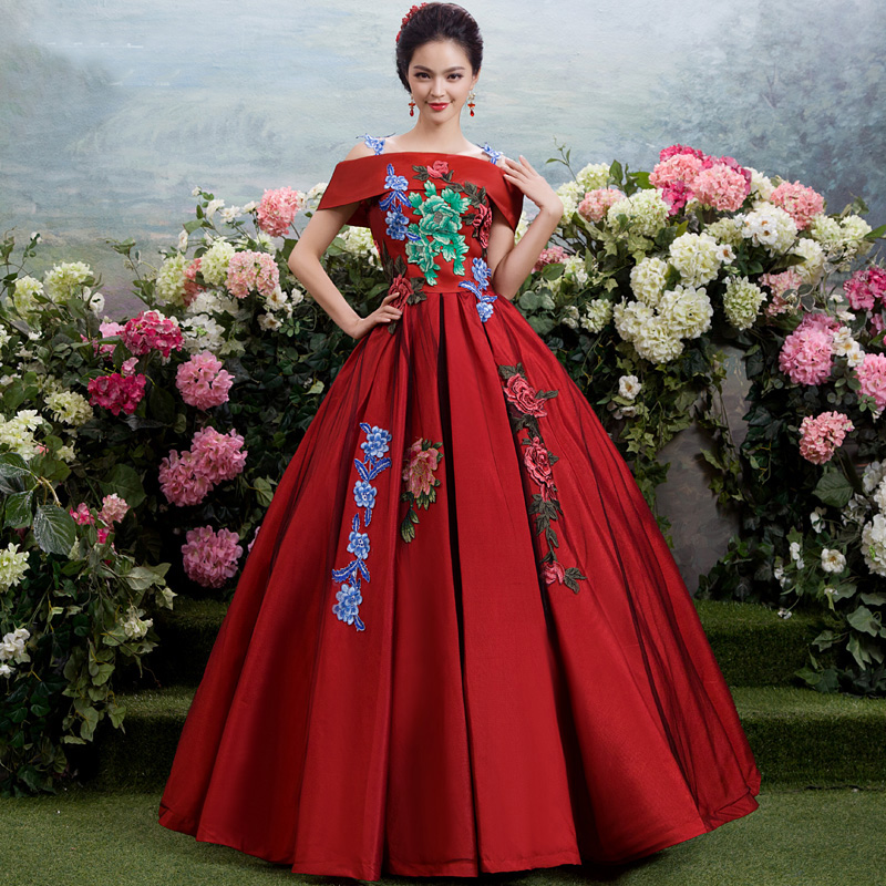 Luxury Summer&Autumn Burgundy Forest Flowers Embroidery Floral Ball Gown  Stage Performance Hostess Costume For Women