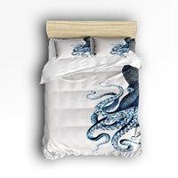 4 Piece Bed Sheets Set Octopus Steampunk Ocean Pattern 1 Flat Sheet 1 Duvet Cover And
