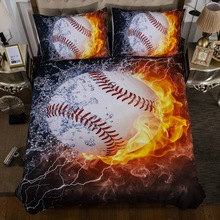 цена 3D Boys Baseball Sports Bed Linens Set Bedclothes Quilt Comforter Cover Adults Children US Twin Quen Bedding Duvet Cover Set онлайн в 2017 году