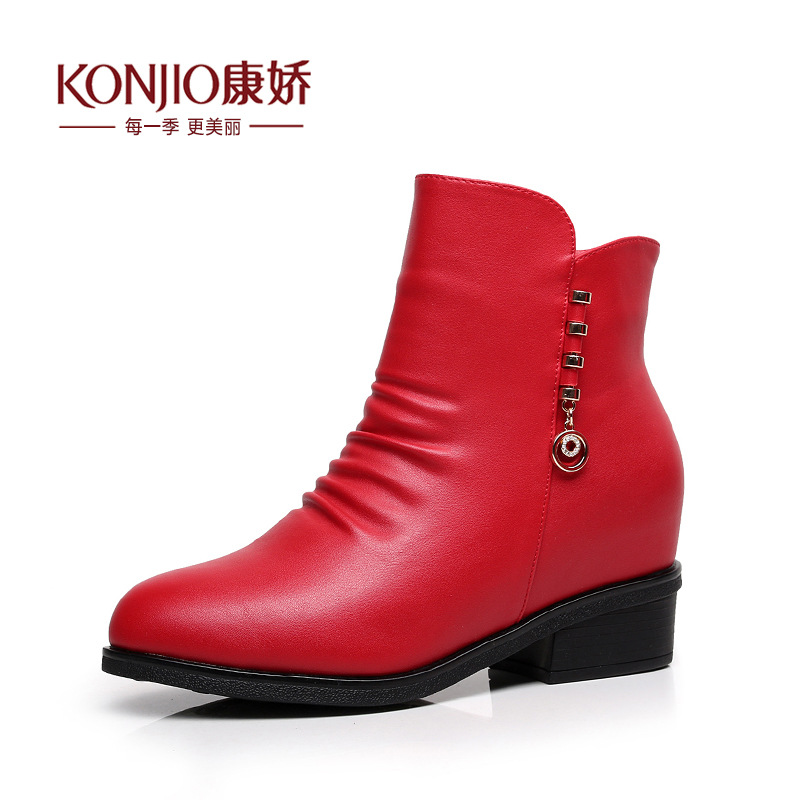 Women's Shoes 2016 Winter Boots New Plus Velvet Genuine Leather Heighten Shoes Women Martin Boots Keep Warm Ankle Boots Botas